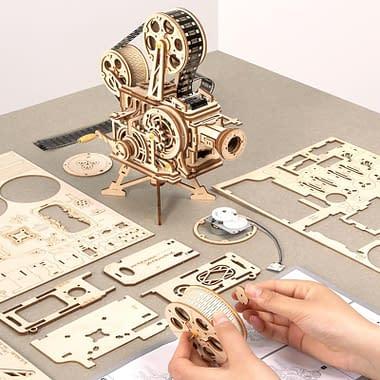 Quebra Cabeça 3D Madeira Projetor Vintage - Loja Lua Feliz