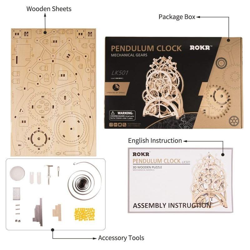 Quebra Cabeça 3D Madeira Relógio Mecânico - Loja Lua Feliz